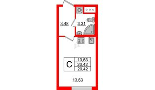 Квартира в ЖК Морская набережная 2, студия, 20.42 м², 4 этаж