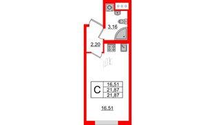 Квартира в ЖК Морская набережная 2, студия, 21.87 м², 4 этаж