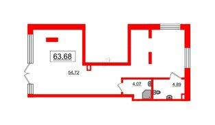 Помещение в ЖК Эмеральд на Малой Неве, 63.68 м², 1 этаж