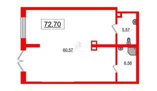 Помещение в ЖК Эмеральд на Малой Неве, 72.7 м², 1 этаж