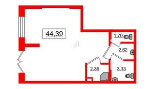 Помещение в ЖК Эмеральд на Малой Неве, 44.39 м², 1 этаж