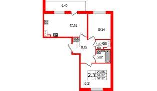 Квартира в ЖК «Солнечный город», 2 комнатная, 54.37 м², 2 этаж