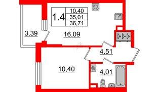 Квартира в ЖК «Солнечный город», 1 комнатная, 35.01 м², 2 этаж
