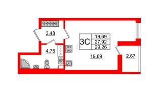 Квартира в ЖК «Солнечный город», студия, 27.92 м², 8 этаж