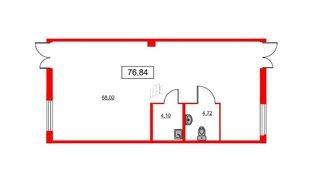 Помещение в ЖК ID Кудрово, 76.84 м², 1 этаж