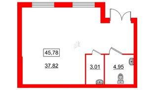 Помещение в ЖК ID Кудрово, 45.78 м², 1 этаж