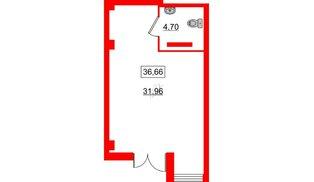 Помещение в ЖК ID Кудрово, 36.66 м², 1 этаж
