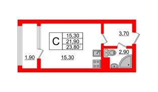 Квартира в ЖК Малое Карлино, студия, 23.8 м², 2 этаж