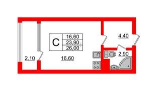 Квартира в ЖК Малое Карлино, студия, 26 м², 3 этаж
