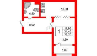 Квартира в ЖК Малое Карлино, 1 комнатная, 36.2 м², 1 этаж