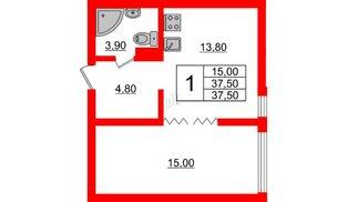 Квартира в ЖК Малое Карлино, 1 комнатная, 37.5 м², 1 этаж