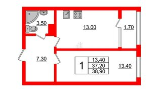 Квартира в ЖК Малое Карлино, 1 комнатная, 38.9 м², 2 этаж