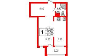 Квартира в ЖК Малое Карлино, 1 комнатная, 37.1 м², 3 этаж