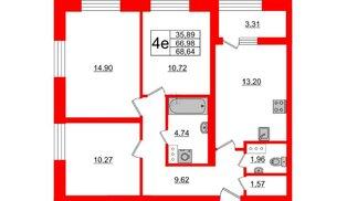 Квартира в ЖК БелАРТ, 3 комнатная, 68.64 м², 3 этаж
