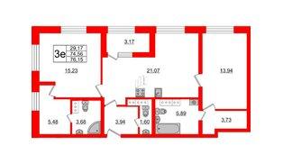 Квартира в ЖК БелАРТ, 2 комнатная, 76.15 м², 22 этаж