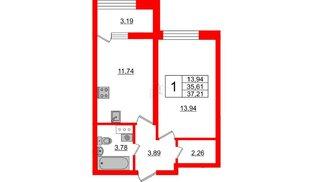 Квартира в ЖК БелАРТ, 1 комнатная, 37.21 м², 4 этаж