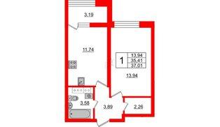 Квартира в ЖК БелАРТ, 1 комнатная, 37.01 м², 13 этаж