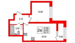 Квартира в ЖК БелАРТ, 1 комнатная, 36.1 м², 9 этаж