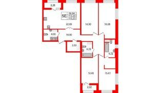 Квартира в ЖК БелАРТ, 4 комнатная, 115.23 м², 12 этаж