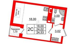 Квартира в ЖК Зеленый квартал на Пулковских высотах, студия, 24.02 м², 5 этаж