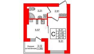 Квартира в ЖК Олимпия-12, студия, 22.56 м², 2 этаж