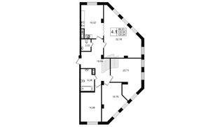 Квартира в ЖК «Мироздание», 4 комнатная, 131.2 м², 3 этаж
