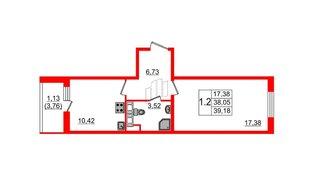 Квартира в ЖК «Солнечный город», 1 комнатная, 37.5 м², 1 этаж