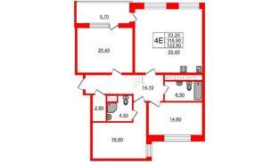 Квартира в ЖК Москва, 3 комнатная, 116.9 м², 22 этаж