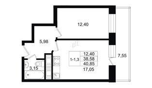 Квартира в ЖК Москва, 1 комнатная, 37.8 м², 7 этаж