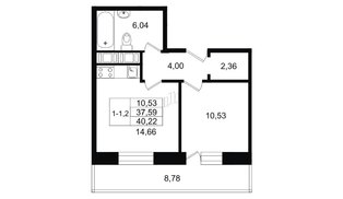 Квартира в ЖК Москва, 1 комнатная, 37.2 м², 9 этаж