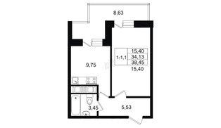 Квартира в ЖК Москва, 1 комнатная, 33.3 м², 3 этаж