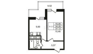 Апартаменты в ЖК Москва, 1 комнатные, 32.9 м², 15 этаж