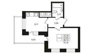 Квартира в ЖК Москва, 1 комнатная, 32 м², 6 этаж