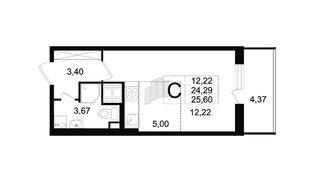 Квартира в ЖК «Солнечный город», студия, 23.9 м², 8 этаж