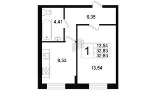 Квартира в ЖК Северный вальс, 1 комнатная, 32.83 м², 1 этаж
