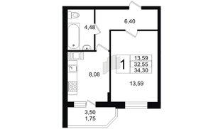 Квартира в ЖК Северный вальс, 1 комнатная, 34.3 м², 2 этаж