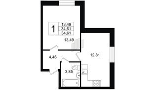 Квартира в ЖК Северный вальс, 1 комнатная, 34.61 м², 1 этаж