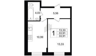 Квартира в ЖК Северный вальс, 1 комнатная, 33.91 м², 1 этаж
