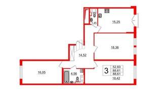 Квартира в ЖК ПАЛАЦИО, 3 комнатная, 88.61 м², 4 этаж