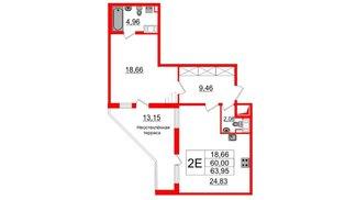 Квартира в ЖК ПАЛАЦИО, 1 комнатная, 60 м², 7 этаж
