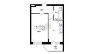 Квартира в ЖК Северный вальс, 1 комнатная, 35.34 м², 12 этаж