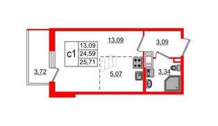Квартира в ЖК ПАЛАЦИО, студия, 24.59 м², 6 этаж