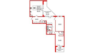 Квартира в ЖК ПАЛАЦИО, 2 комнатная, 93.9 м², 10 этаж