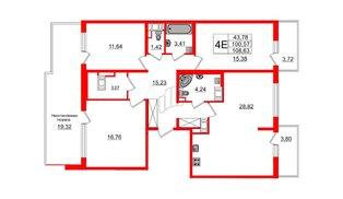 Квартира в ЖК ПАЛАЦИО, 3 комнатная, 99.3 м², 10 этаж