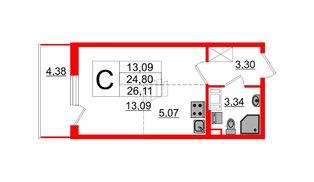 Квартира в ЖК ПАЛАЦИО, студия, 24.8 м², 10 этаж
