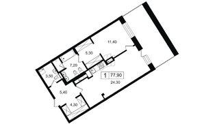 Квартира в ЖК YE'S, 1 комнатная, 66.35 м², 8 этаж