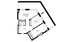 Квартира в ЖК YE'S, 2 комнатная, 94.9 м², 9 этаж