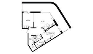 Квартира в ЖК YE'S, 2 комнатная, 96.82 м², 8 этаж