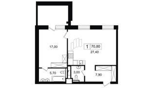 Квартира в ЖК YE'S, 1 комнатная, 63.99 м², 9 этаж
