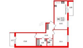 Квартира в ЖК Зеленый квартал на Пулковских высотах, 2 комнатная, 73.29 м², 4 этаж
